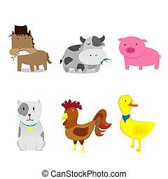 Schöne Bauerntiere haben Zeichentrickfilme gemacht.