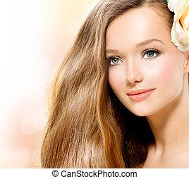 schöne , blume, schoenheit, rose, girl., modell