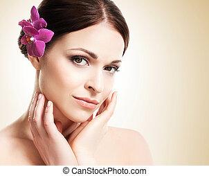 schöne , blume, sie, gesunde, aus, junger, gelbes gesicht, haar, hintergrund, m�dchen, orchidee