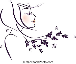 Schöne Blumenfrau