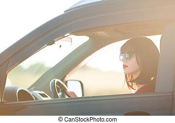 Schöne Brünette im Auto.