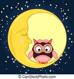 Schöne Cartoon Eule, die auf einem runden, schlummernden Mond im Nachthimmel mit Sternen sitzt.