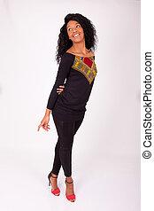 schöne frau, amerikanische , mode, afrikanisch, porträt