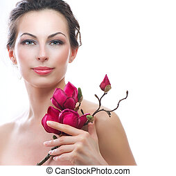 schöne frau, gesunde, fruehjahr, flowers., spa