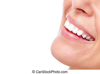 Schöne Frau lächeln und Zähne.