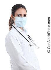 Schöne Frau mit einer Chirurgenmaske.