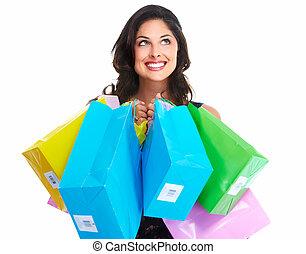 Schöne Frau mit Einkaufstüten.