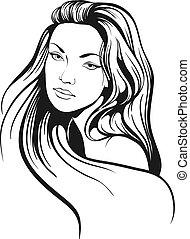 Schöne Frau mit langen Haaren.