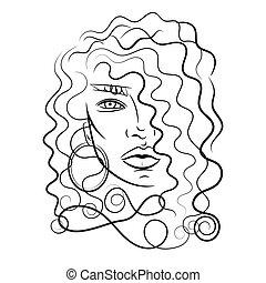 Schöne Frau mit langen Haaren. Vector.