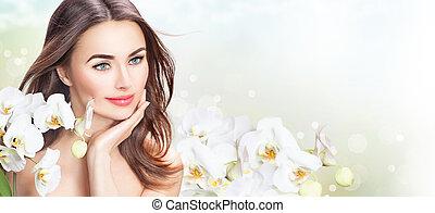 schöne frau, sie, schoenheit, gesicht, flowers., berühren, spa, m�dchen, orchidee