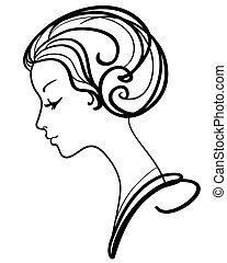 Schöne Frau sieht sich Vektor Illustration an