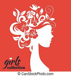 Schöne Frau Silhouette mit Blumen. Mädchensammlung