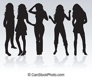 Schöne Frauen tanzen.
