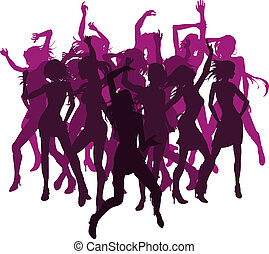 Schöne Frauen tanzen Silhouetten.