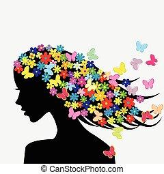 Schöne Frauenprofile mit Blumen und Schmetterlingen im Haar.