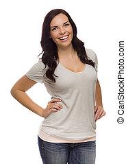 Schöne gemischte Rasse weiblich isoliert auf weißem Hintergrund.