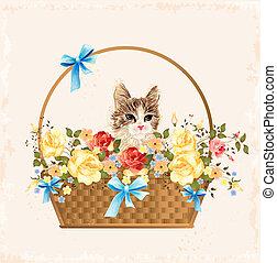 Schöne Grußkarte mit Kätzchen