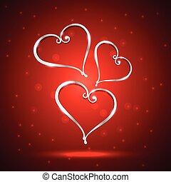 Schöne Herz-Darstellung im roten Hintergrund.