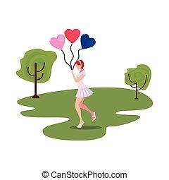 schöne , herzen, frau, luftballone