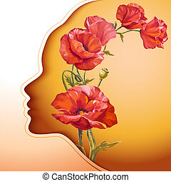 Schöne junge Frau mit Blumen.