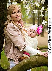 Schöne junge Mutter mit ihrer kleinen Tochter im Frühling im Garten