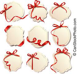 Schöne Karten mit rotem Geschenk verbeugt sich mit Bändern Vector.
