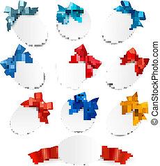 Schöne Karten mit roten Geschenken verbeugen sich mit Bändern. Vector