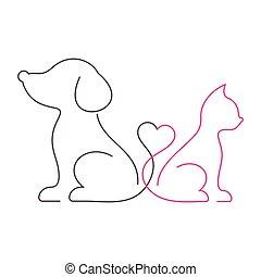 Schöne Katzen- und Hundeleinen-Symbole.