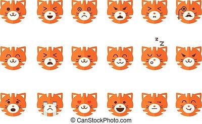Schöne Katzenemoticons Set, lustige Kätzchen Emoji mit verschiedenen Emotionen Vektor Illustrations auf einem weißen Hintergrund.