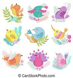 Schöne kleine Vögel, Symbole des Frühlings bunte Vektorgrafik.
