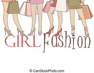 Schöne Mädchen beim Einkaufen.