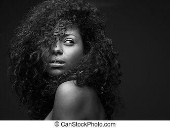 schöne , mode, amerikanische , afrikanisch, porträt, modell