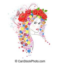 Schöne Mode junge Frau mit Blumen im Haar.