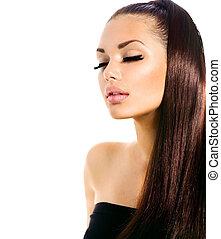 Schöne Model-Mädchen mit langen, gesunden Haaren.