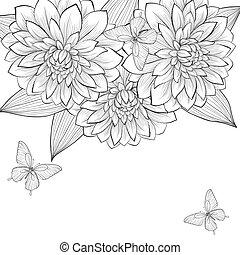Schöne monochrome schwarz-weiß Hintergrund mit Rahmen von Dahlia Blumen und Schmetterlingen