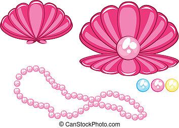 Schöne Muschelschale mit Perlen