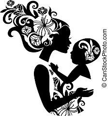 Schöne Mutter Silhouette mit Baby in einer Schlinge. Florale Illustration