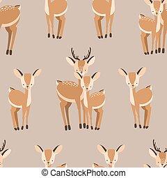 Schöne nahtlose Muster mit Erwachsenen und Baby Hirschen auf braunem Hintergrund. Backdrop mit süßen und lustigen Cartoon-Waldtiere. Vector Illustration für Textildruck, Tapeten, Verpackungspapier.
