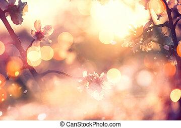 Schöne Naturlandschaft mit blühendem Baum und Sonneneruption.