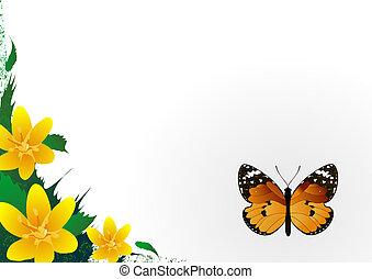 schöne , papillon, blume, frame., seitlich, hintergrund