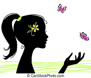 schöne , papillon, m�dchen, silhouette