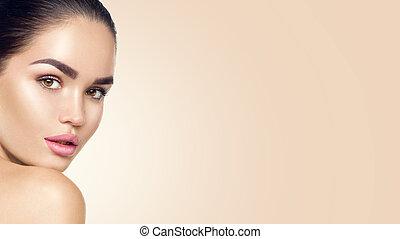 schöne , perfekt, frau, schoenheit, face., junger, skincare, skin., begriff, brünett, modell, m�dchen