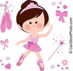 Schöne rosa Ballerina. Vector Illustrationssammlung