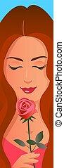 schöne , rose, m�dchen, rotes gesicht