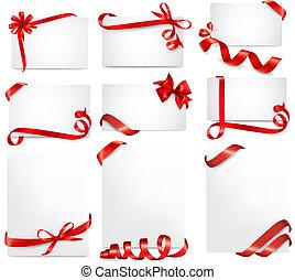 schöne , satz, geschenk, verbeugungen, vektor, karten, bänder, rotes