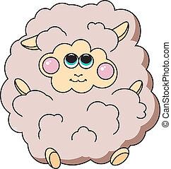 Schöne Schafe auf weißem Hintergrund.