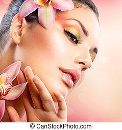 schöne , sie, gesicht, berühren, spa, m�dchen, blumen, orchidee