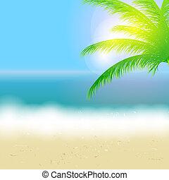 schöne , sommer, sandstrand, sonne, baum, abbildung, vektor, handfläche, hintergrund, meer