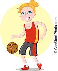 Schöne sportliche Basketballspielerin. Vector
