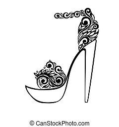 schöne , verzierung, sandals, schwarz, blumen-, dekoriert, weißes